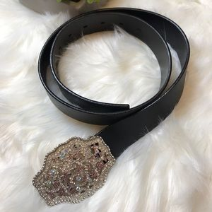 Express Black Leather Rhinestone Buckle Belt